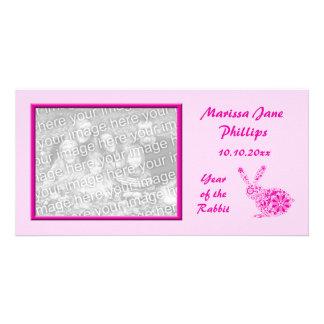 Customizable Pink Flower Rabbit Photocard Card