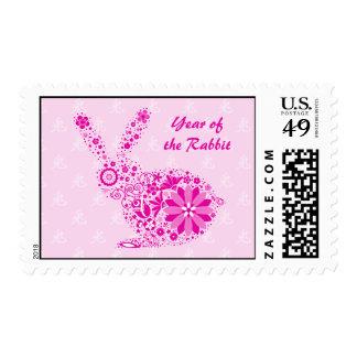 Customizable Pink Flower Rabbit Postage