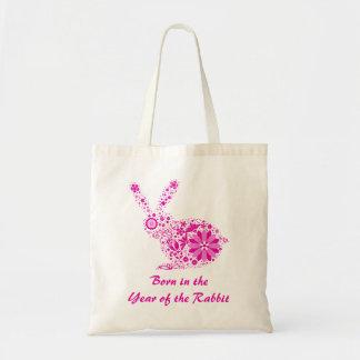 Customizable Pink Flower Rabbit Tote Bag