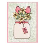 Customizable Pink Flower Vase for Mom Postcard