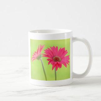 Customizable Pink Gerber Daisies on Green Classic White Coffee Mug