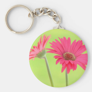 Customizable Pink Gerber Daisies on Green Keychain