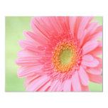 "Customizable Pink Gerber Daisy 4.25"" X 5.5"" Invitation Card"