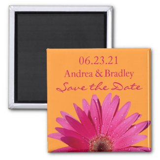 Customizable Pink Gerbera Daisy Monogram Magnet magnet