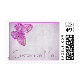 "Customizable ""Pink Glass Butterfly"" Postage Stamps"