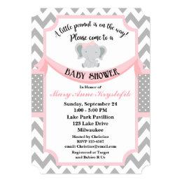 Customizable Pink Gray Baby Girl Shower Invitation