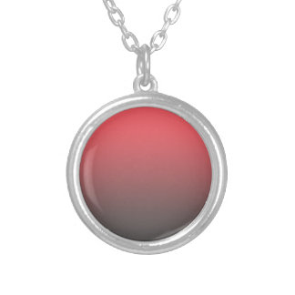 Customizable Pink Gray Ombre Background Silver Plated Necklace