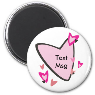 Customizable Pink Heart Favors Refrigerator Magnets