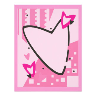 Customizable Pink Heart Stationery Letterhead