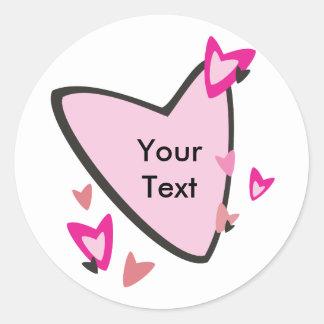 Customizable Pink Heart Stickers