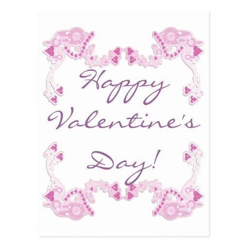 Customizable Pink Hearts Design Post Cards
