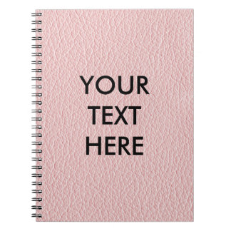 Customizable Pink Leather Background Spiral Notebook