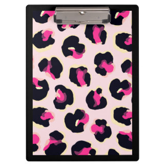 Customizable Pink Leopard Print Clipboard