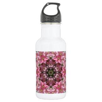 Customizable-Pink Lily Fusion Kaleidoscope Water Bottle
