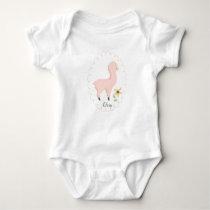 Customizable Pink Little Llama Baby Bodysuit