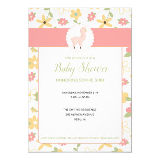 Customizable Pink Little Llama Baby Shower Invite