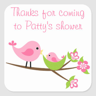 Customizable pink Mom and baby bird square sticker