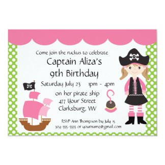 """Customizable Pink Pirate Girl Birthday Party 5"""" X 7"""" Invitation Card"""