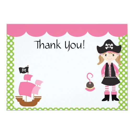 Customizable Pink Pirate Girl Thank You 5x7 Paper Invitation Card