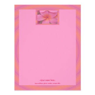 Customizable Pink Plumeria Tropical Letterhead