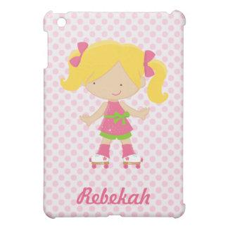 Customizable Pink Polka Dots Blonde Rollerskating  iPad Mini Cover