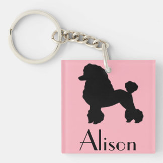 Customizable Pink Poodle Skirt Inspired Keychain
