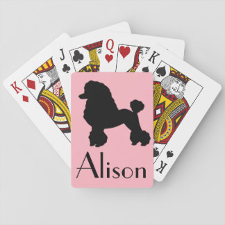 Customizable Pink Poodle Skirt Playing Cards
