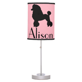 Customizable Pink Poodle Skirt Table Lamp