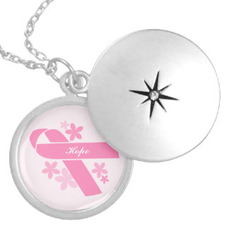 Customizable Pink Ribbon Silver Plated Necklace