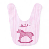 Customizable Pink Rocking Horse Baby Bib