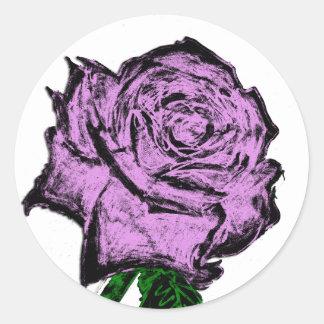 Customizable Pink Rose Design Classic Round Sticker