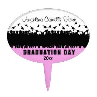 Customizable Pink Silhouette Graduate Cake Topper