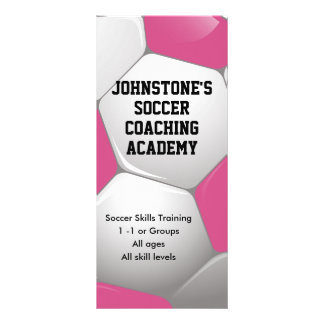 Customizable Pink Soccer Coaching Business Full Color Rack Card