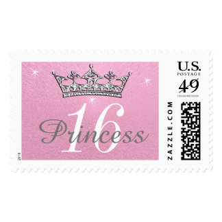 Customizable Pink Sweet 16 Postage Stamps