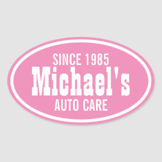 Customizable Pink Western Business Promo Oval Sticker