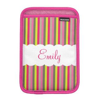 Customizable Pink White Green Stripes Pattern Sleeve For iPad Mini
