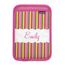 Customizable Pink White Green Stripes Pattern Sleeve For iPad Mini