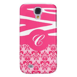 Customizable Pink Zebra & Damask iPhone Case Samsung Galaxy S4 Cover