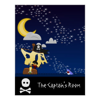 Customizable Pirate at Night Poster