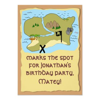 Customizable Pirate Birthday Party Invitations Map