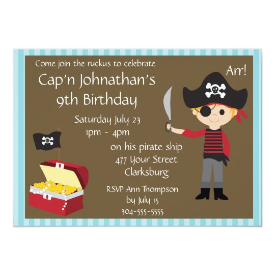 Customizable Pirate Boy Birthday Party Card