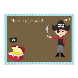 Customizable Pirate Boy Thank You 5x7 Paper Invitation Card