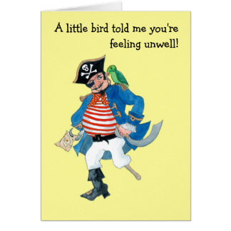 Customizable 'Pirate & Parrot' Kids Get Well Card