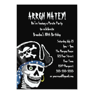 Customizable Pirate Party 5x7 Paper Invitation Card