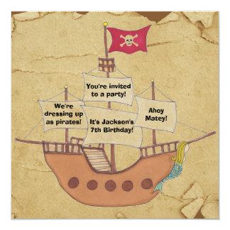 Customizable pirate ship birthday invitations