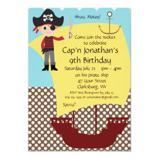 Customizable Pirate Ship Birthday Party 5x7 Paper Invitation Card