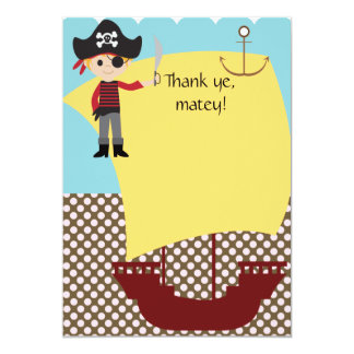 Customizable Pirate Ship Thank You 5x7 Paper Invitation Card