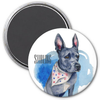 Customizable Pit Bull Dog Blue Watercolor 3 Inch Round Magnet