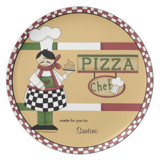 Customizable Pizza Chef Party Plate