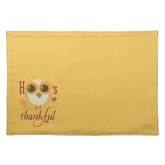 Customizable Place Mats Thanksgiving Pilgrim Owl Cloth Placemat